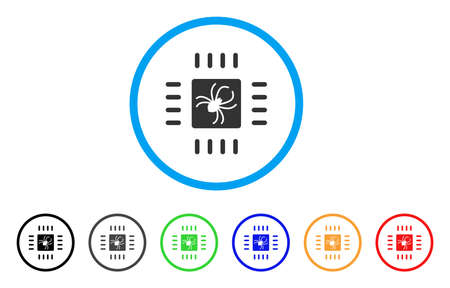 electronic components: Processor Bug rounded icon. Style is a flat processor bug grey symbol inside light blue circle with black, gray, green, blue, red, orange variants. Vector designed for web and software interfaces.