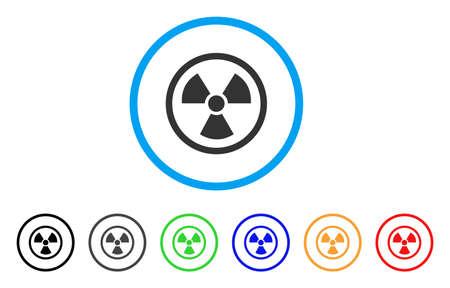 방사성 둥근 된 아이콘입니다. 스타일은 검은 색, 회색, 녹색, 파란색, 빨간색, 주황색 버전이있는 밝은 파란색 원 안의 납작한 방사성 회색 기호입니다