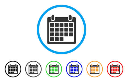 Schedule Calendar Grid rounded icon. Style is a flat schedule calendar grid gray symbol inside light blue circle with black, gray, green, blue, red, orange variants.