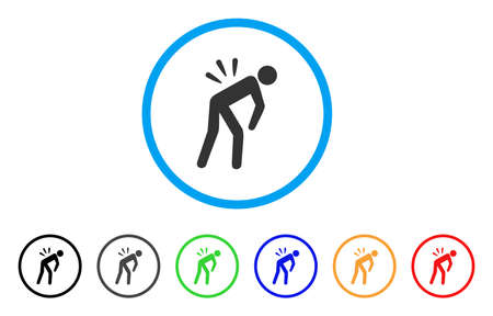 Sciatica Back Pain icono redondeado. El estilo es un símbolo plano de dolor de espalda de ciática dentro de un círculo azul claro con versiones negras, grises, verdes, azules, rojas, naranjas. Ilustración de vector