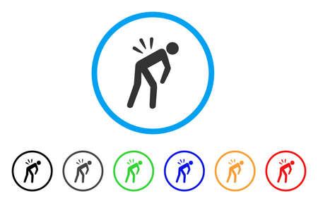 Sciatique douleur lombaire arrondie icône. Le style est un symbole plat de dos de douleur sciatique gris à l'intérieur du cercle bleu clair avec des versions noires, grises, vertes, bleues, rouges, orange. Vecteurs