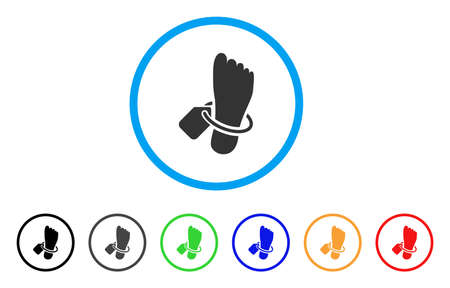 Morgue Tagged Foot rounded icon. Style is a flat morgue tagged foot grey symbol inside light blue circle with black, gray, green, blue, red, orange color versions. Illustration