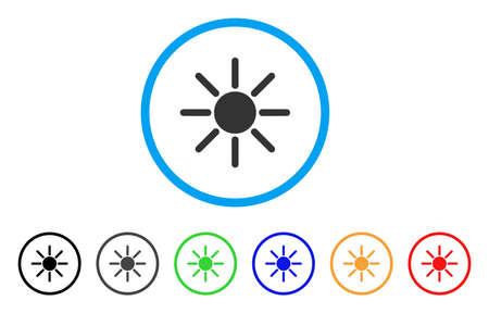 Icono de sol redondeado El estilo es un símbolo de sol gris plano dentro de un círculo azul claro con versiones de color negro, gris, verde, azul, rojo, naranja. Vector diseñado para interfaces web y software. Ilustración de vector