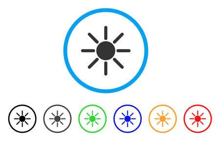 Sun rounded icon. Style is a flat sun grey symbol inside light blue circle with black, gray, green, blue, red, orange color versions. Vector designed for web and software interfaces.