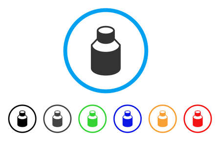 Vial rounded icon. Style is a flat vial gray symbol inside light blue circle with black, gray, green, blue, red, orange variants. Vector designed for web and software interfaces. Ilustracja