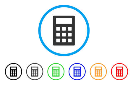 Calculator rounded icon. Style is a flat calculator gray symbol inside light blue circle with black, gray, green, blue, red, orange versions. Vector designed for web and software interfaces.