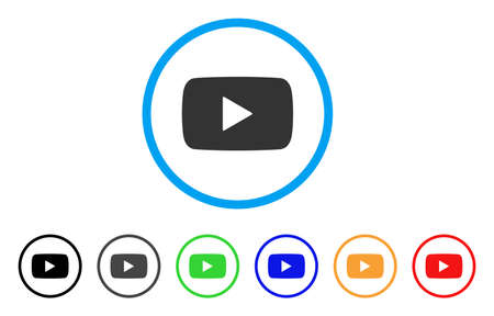 Play Video rounded icon. Style is a flat play video gray symbol inside light blue circle with black, gray, green, blue, red, orange versions. Vector designed for web and software interfaces.