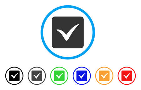 Approve Box rounded icon. Style is a flat approve box grey symbol inside light blue circle with black, gray, green, blue, red, orange versions. Vector designed for web and software interfaces.