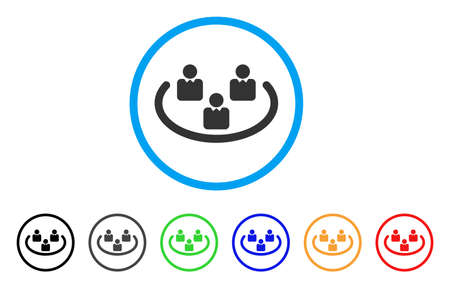 Social Networks rounded icon. Style is a flat social networks grey symbol inside light blue circle with black, gray, green, blue, red, orange versions. Vector designed for web and software interfaces. Illustration