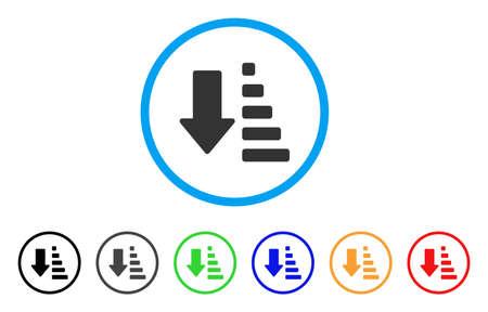 Abgerundetes Pfeilsymbol sortieren. Der Stil ist ein flaches Pfeilsymbol, das in einem blauen Kreis mit schwarzen, grauen, grünen, blauen, roten, orangen Versionen angeordnet ist. Vektor für Web- und Software-Schnittstellen.