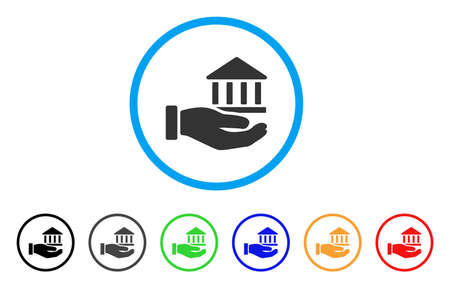 Bank Service Hand rounded icon. Style is a flat bank service hand grey symbol inside light blue circle with black, gray, green, blue, red, orange versions. Illustration