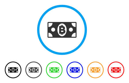 Bitcoin Cash Banknote rounded icon. Style is a flat bitcoin cash banknote gray symbol inside light blue circle with black, gray, green, blue, red, orange variants. Illustration