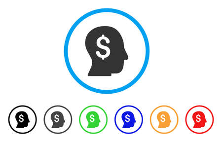 moneymaker: Businessman rounded icon. Style is a flat businessman gray symbol inside light blue circle with black, gray, green, blue, red, orange versions. Vector designed for web and software interfaces. Illustration
