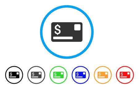 Creditcard afgerond pictogram. Stijl is een plat grijs pictogram van een creditcard binnen lichtblauwe cirkel met zwarte, grijze, groene, blauwe, rode, oranje kleurenversies. Vector ontworpen voor web- en software-interfaces. Stock Illustratie