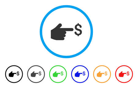 Index Hand Icon Flat Gray Pictogram Symbol Inside A Blue Rounded
