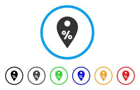 Prozent Map Marker abgerundetes Symbol. Art ist ein flaches Prozentmarkierungsgrausymbol innerhalb des hellblauen Kreises mit schwarzen, grauen, grünen, blauen, roten, orange Varianten. Standard-Bild - 86480986