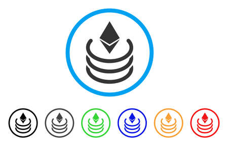 Ethereum Portal rounded icon. Style is a flat ethereum portal grey symbol inside light blue circle with black, gray, green, blue, red, orange color versions. Illustration