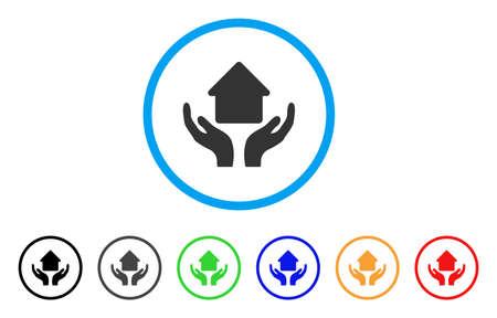 Häusliche Hände gerundet Symbol. Style ist ein flaches häusliches Pflegehände mit einem grauen Symbol innerhalb eines hellblauen Kreises mit schwarzen, grauen, grünen, blauen, roten, orangen Varianten. Vektor für Web- und Software-Schnittstellen.