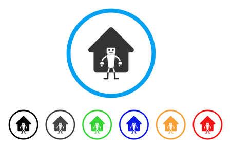 홈 로봇 둥근 아이콘. 스타일은 검은 색, 회색, 녹색, 파란색, 빨간색, 주황색 변형이있는 밝은 파란색 원 안의 플랫 홈 로봇 회색 기호입니다. 웹 및 소