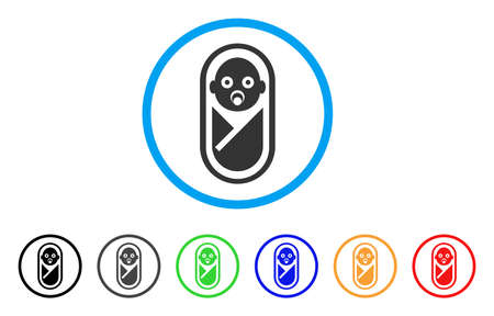 Newborn rounded icon. Style is a flat newborn gray symbol inside light blue circle with black, gray, green, blue, red, orange variants. Vector designed for web and software interfaces. Illustration