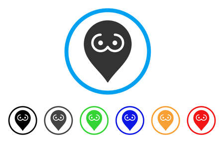 Brothel Tits Marker rounded icon. Style is a flat brothel tits marker gray symbol inside light blue circle with black, gray, green, blue, red, orange color versions. Иллюстрация