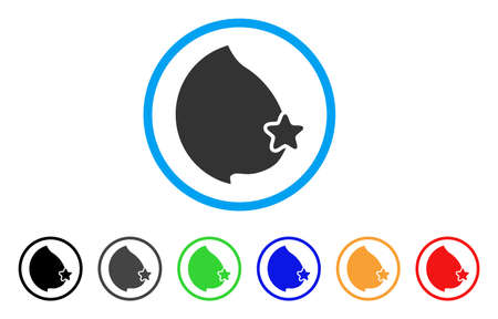 Censored Female Breast rounded icon. Style is a flat censored female breast gray symbol inside light blue circle with black, gray, green, blue, red, orange variants. Illustration