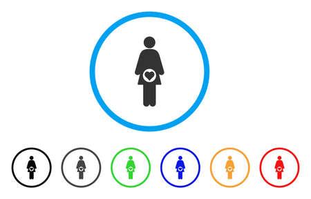 妊娠中の女性の丸みを帯びたアイコン。スタイルは、黒、グレー、緑、青、赤、オレンジのバージョンと光の青い円の中の灰色のフラットな妊婦シ
