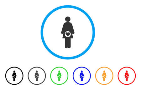 Pregnant Woman rounded icon. Style is a flat pregnant woman gray symbol inside light blue circle with black, gray, green, blue, red, orange versions. Vector designed for web and software interfaces.