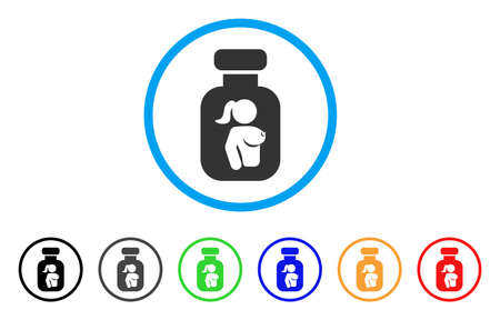 Lady Breast Vial rounded icon. Style is a flat lady breast vial gray symbol inside light blue circle with black, gray, green, blue, red, orange variants.