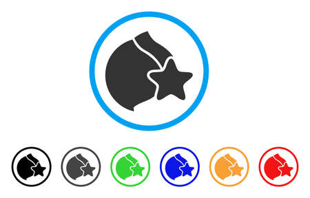 Female Breast Censorship Star rounded icon. Style is a flat female breast censorship star grey symbol inside light blue circle with black, gray, green, blue, red, orange variants.