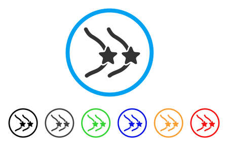 Female Breast Censorship Stars rounded icon. Style is a flat female breast censorship stars grey symbol inside light blue circle with black, gray, green, blue, red, orange variants.
