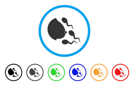 Female Breast Spermatozoons rounded icon. Style is a flat female breast spermatozoons grey symbol inside light blue circle with black, gray, green, blue, red, orange color versions.