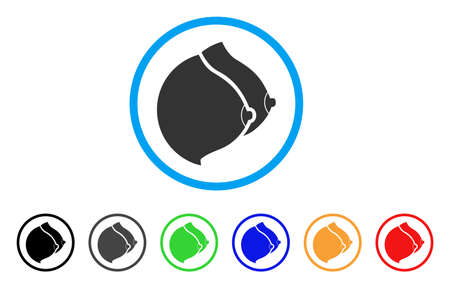 Female Tits rounded icon. Style is a flat female tits grey symbol inside light blue circle with black, gray, green, blue, red, orange color versions. Vector designed for web and software interfaces.