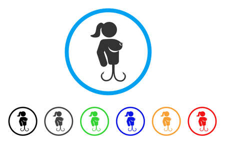 Hooker Lady rounded icon. Style is a flat hooker lady grey symbol inside light blue circle with black, gray, green, blue, red, orange versions. Vector designed for web and software interfaces.