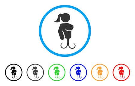 Hooker Lady afgerond pictogram. Stijl is een flat hooker lady grijs symbool in lichtblauwe cirkel met zwarte, grijze, groene, blauwe, rode, oranje versies. Vector ontworpen voor web- en software-interfaces.