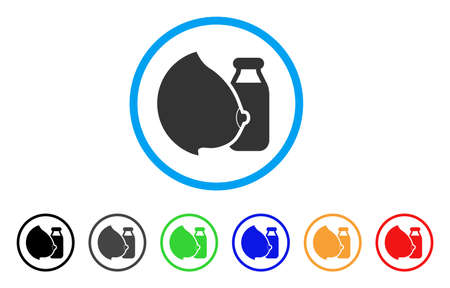 Mother Tit Milk Bottle rounded icon. Style is a flat mother tit milk bottle gray symbol inside light blue circle with black, gray, green, blue, red, orange variants. Иллюстрация