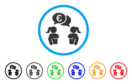 Naked Lady Euro Chat rounded icon. Style is a flat naked lady euro chat grey symbol inside light blue circle with black, gray, green, blue, red, orange variants.
