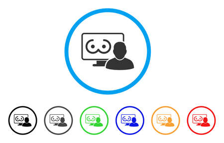 Online Erotics Viewer User rounded icon. Style is a flat online erotics viewer user gray symbol inside light blue circle with black, gray, green, blue, red, orange versions.