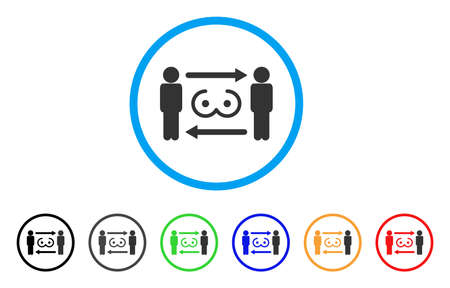 Swingers Exchange rounded icon. Style is a flat swingers exchange grey symbol inside light blue circle with black, gray, green, blue, red, orange variants. Иллюстрация