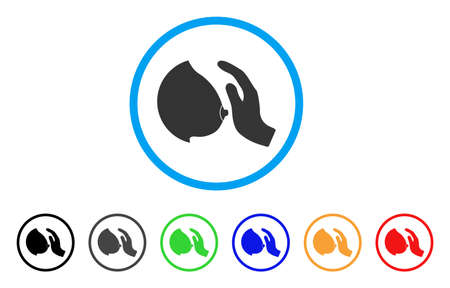 Touch Female Breast rounded icon. Style is a flat touch female breast gray symbol inside light blue circle with black, gray, green, blue, red, orange variants. Illustration