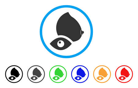View Female Breast rounded icon. Style is a flat view female breast grey symbol inside light blue circle with black, gray, green, blue, red, orange color versions.