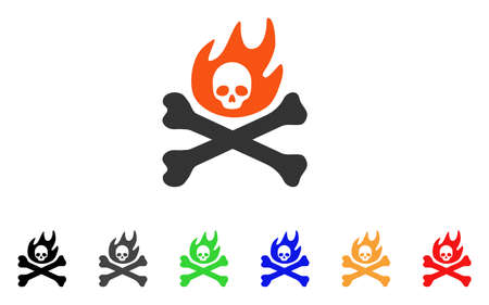 Bones Fire icon. Vector illustration style is a flat iconic bones fire symbol with black, grey, green, blue, red, orange color variants. Designed for web and software interfaces.