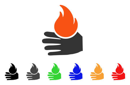 Burn Hand icon. Vector illustration style is a flat iconic burn hand symbol with black, grey, green, blue, red, orange color versions. Designed for web and software interfaces.