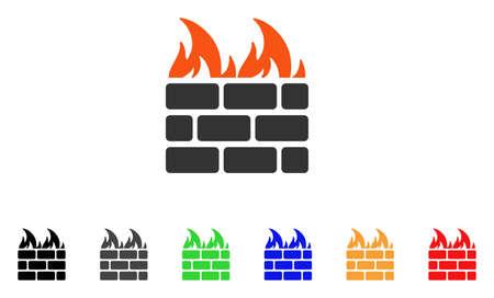 벽 아이콘을 화재. 벡터 일러스트 레이 션 스타일 검은, 회색, 녹색, 파랑, 빨강, 오렌지 색상 추가 버전 플랫 아이코 닉 화재 벽 기호입니다. 웹 및 소프 일러스트