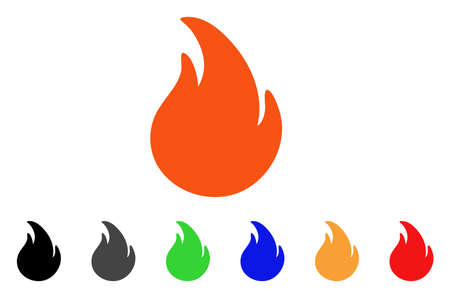 Fire icon. Vector illustration style is a flat iconic fire symbol with black, gray, green, blue, red, orange color versions. Designed for web and software interfaces.