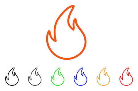 Flame Contour icon. Vector illustration style is a flat iconic flame contour symbol with black, grey, green, blue, red, orange color additional versions. Designed for web and software interfaces.