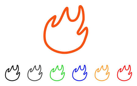 Flame Contour icon. Vector illustration style is a flat iconic flame contour symbol with black, grey, green, blue, red, orange color versions. Designed for web and software interfaces.