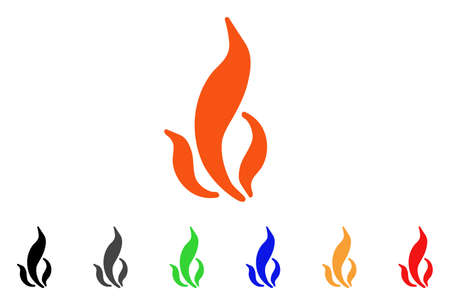 Flame icon. Vector illustration style is a flat iconic flame symbol with black, gray, green, blue, red, orange color versions. Designed for web and software interfaces.