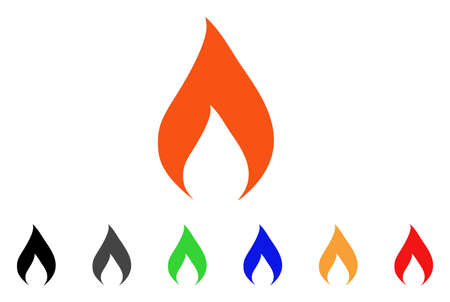 Flame icon. Vector illustration style is a flat iconic flame symbol with black, gray, green, blue, red, orange color variants. Designed for web and software interfaces.