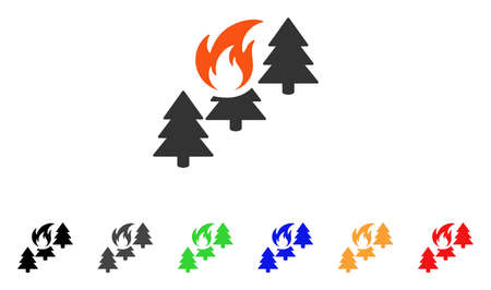 Forest Fire icon. Vector illustration style is a flat iconic forest fire symbol with black, grey, green, blue, red, orange color variants. Designed for web and software interfaces.